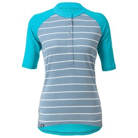 Mons Royale Womens Phoenix Button Down BT Lead Stripe Aqua