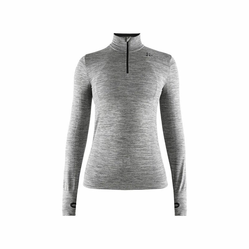 Craft Fuseknit Comfort Zip LS Women dark grey melange S