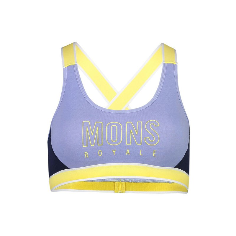 Mons Royale Womens Stella X-Back Bra blue fog